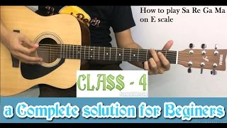 Basic guitar lesson for beginners (class - 4) how to play Sa Re Ga Ma Pa
