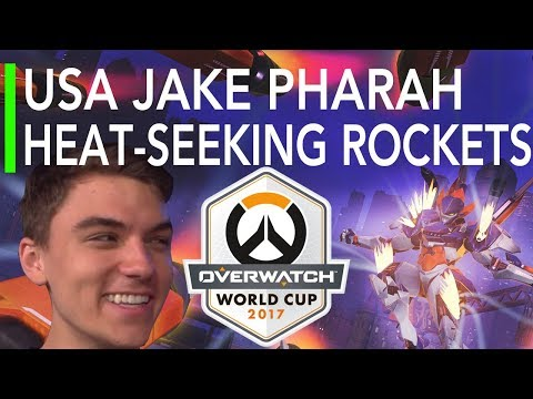 Overwatch Gameplay - USA Jake Pharah : Heat-Seeking Rockets VS Brazil ft Sinatraa Tracer | World Cup