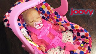 Pink Joovy Toy Car seat Unboxing with Reborn Baby Doll Twin A Emily