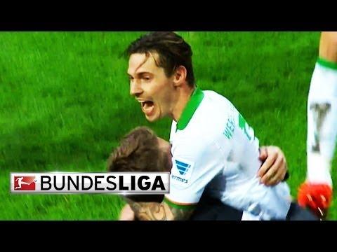 Dortmund's Pierre-Emerick Aubameyang, Schalke's Leon Goretzka, Braunschweig's Jan Hochscheidt, Hoffenheim's Sven Schipplock and Ludovic Obraniak from Werder ...