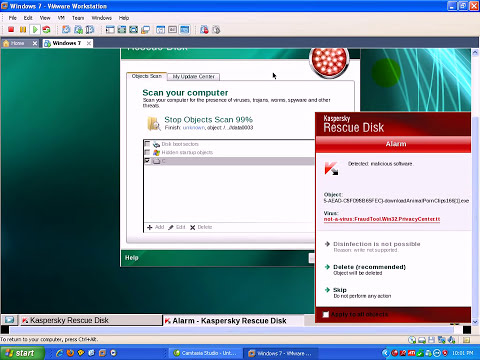 Kaspersky AntiVirus 2011 Rescue Disc VS. Malware
