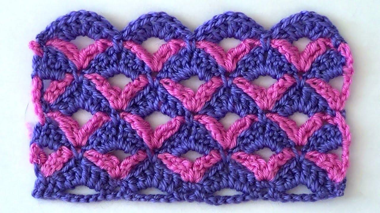 Вязание ажурные узоры двухцветные