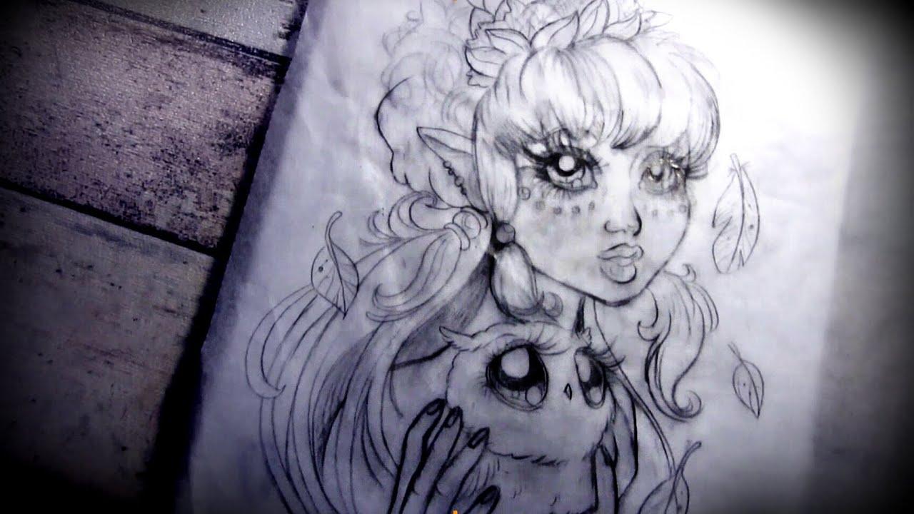 Owl Girl Drawing Owl Girl Sketch Speed