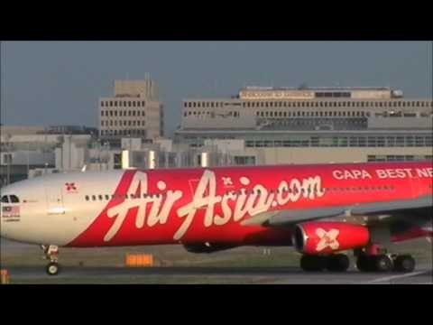 AirAsia X Airbus A340-313X | Landing & Taking Off | London Gatwick Airport