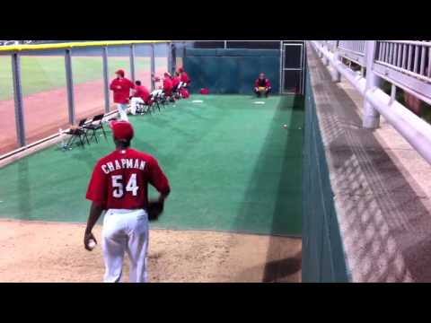 Aroldis Chapman warming up.