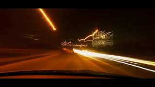 Car light trails - Light Painting - Night long exposure photography while driving in a car