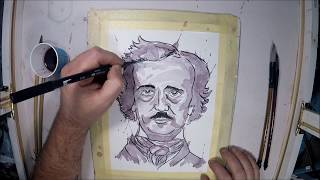 Wine Painting; Edgar Allan Poe With Cabernet Sauvignon
