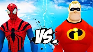 Spiderman vs Mr. Incredible (The Incredibles)