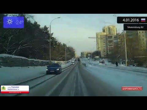 Driving through Yekaterinburg (Russia) 4.01.2016 Timelapse x4