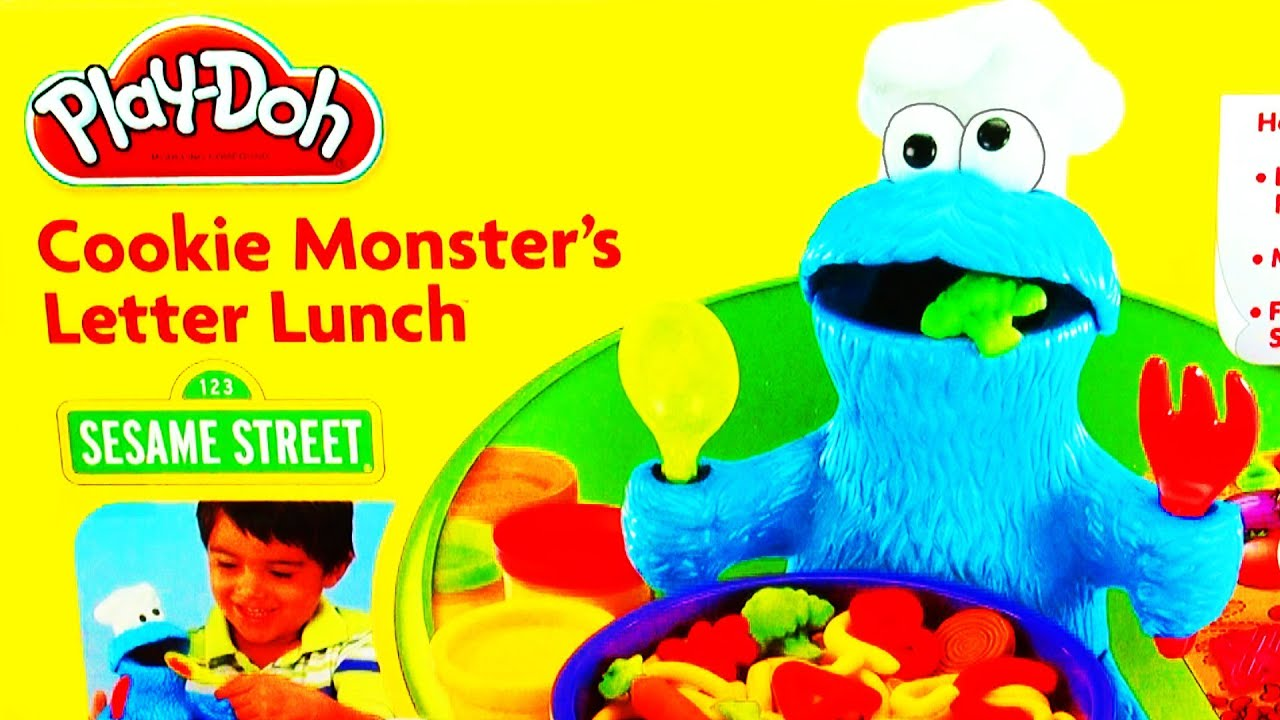 Play Doh Cookie Monster Letter Lunch Learning ABCs Alphabet Playdough ...
