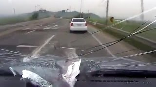 Objects flying into windshields / Car crash compilation