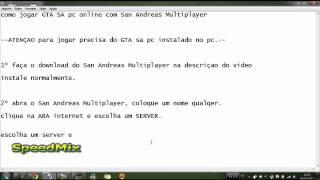 Como Jogar GTA SA online pc -HD- SpeedMIX 2012