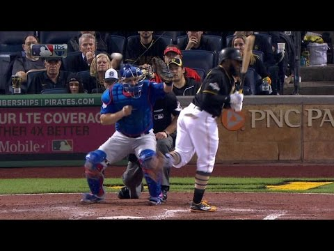 NL WC: Harrison is hit by an Arrieta pitch in the 6th