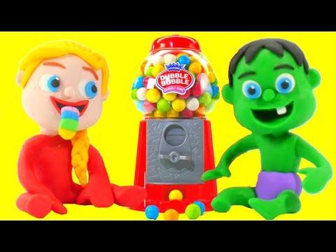 SUPERHERO BABIES & GUMBALL MACHINE ❤ Spiderman, Hulk & Frozen Play Doh Cartoons For Kids