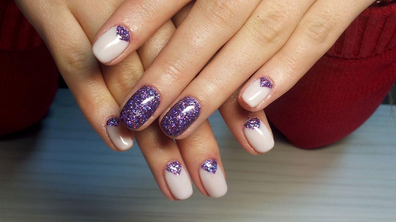 Дизайн ногтей с пудрой блестками