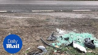 Broken glass on the A149 after Prince Philip's car accident