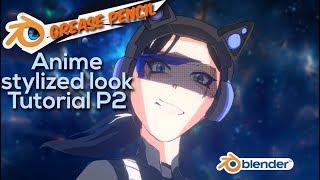 Anime stylized look in Blender grease pencil - Neko girl