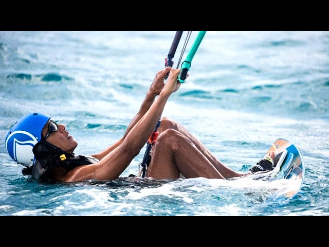 Obama competes against Richard Branson in a kitesurfing contest