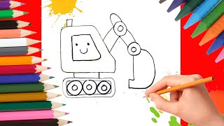 How to draw a bulldozer? Simple drawing for kids. Learning to draw
