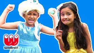 BOUNCY CASTLE SURPRISE EGG CHALLENGE - Princesses In Real Life | Kiddyzuzaa Jr - WildBrain