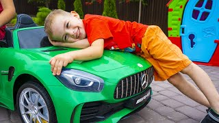 Arthur and Melissa unboxing and assembling a new car for children Kids ride on power wheels