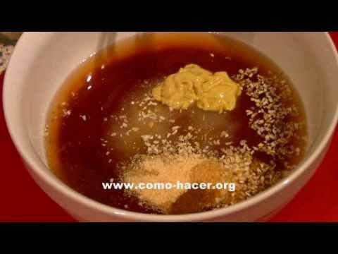 Receta de salsa barbacoa fácil para costillas de cerdo o pollo ( Con miel )