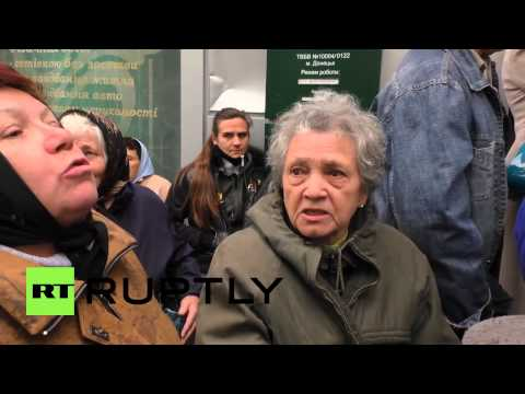 Ukraine: Watch angry, unpaid Donetsk pensioners protest outside bank