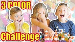 3 COLORS OF GLUE SLIME CHALLENGE!!!  Kids Fun TV