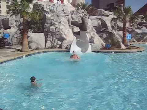 Excalibur waterslide youtube for Pool show vegas