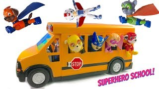 Paw Patrol Rides School Bus to Superhero Super Pup School Wheels on the Bus Song