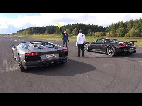 Porsche 918 Spyder vs Lamborghini Aventador Pirelli Edition - Launch Control!