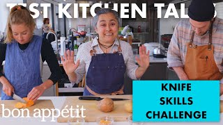 Professional Chefs Compete in a Knife Skills Speed Challenge | Test Kitchen Talks | Bon Appétit
