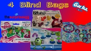 4 TOMY GACHA Blind Bags  My Little Pony, Furby, Monsters University, Hello Kitty unboxing