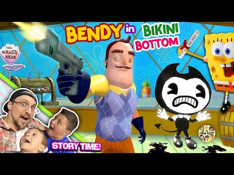 BENDY & the Ink Krabby Patty Machine @ KRUSTY KRAB w/ Spongebob! Hello Neighbor gets Secret Formula?