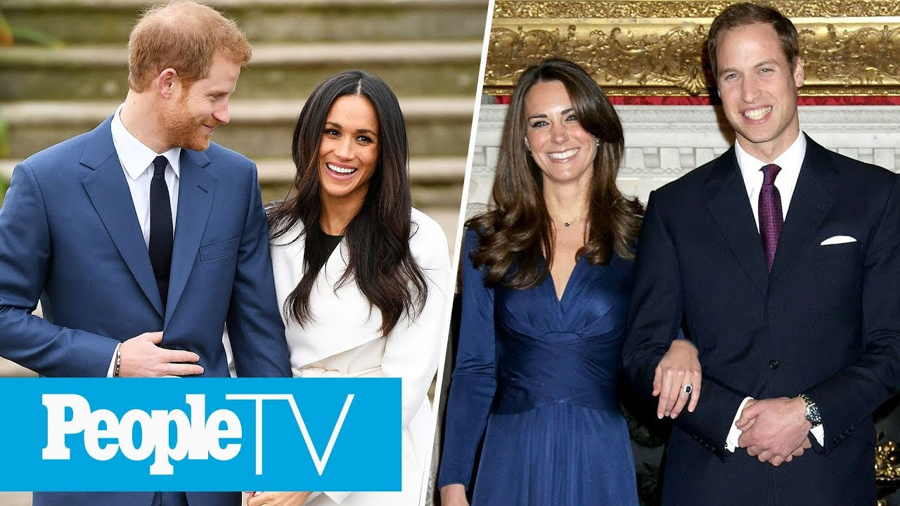Prince Harry and Williams engagement photos compared