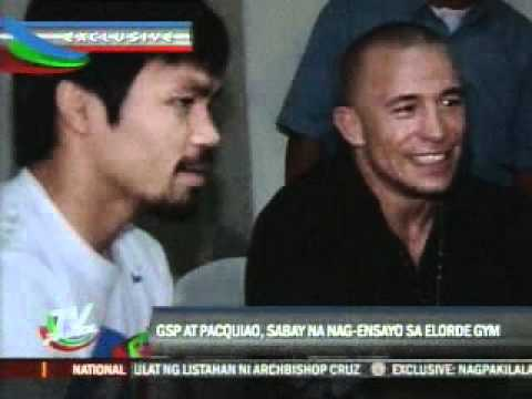 Georges St  Pierre Visits Pacman in training Image 1