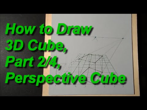 How to Draw 3D Cube, Part 2/4, Perspective Cube
