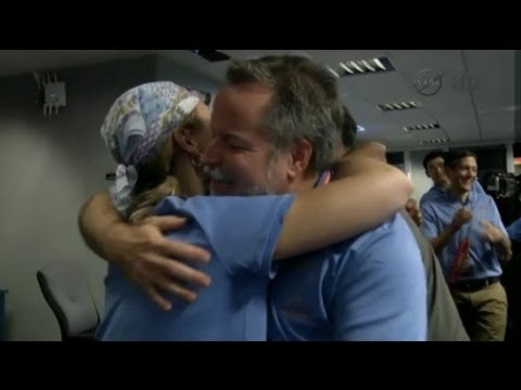 Touch down: Nasa celebrates Curiosity landing