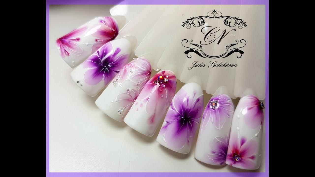 ТОП Красивый дизайн ногтей. Рисунок по мокрому 2017 новинки 12