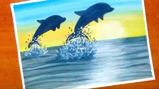 How to paint easy and simple dolphin sunset scenery | silhouette painting with watercolor...