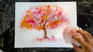 Bubble Wrap Painting Technique - How to paint a tree in watercolor
