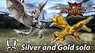 MHGen   Hyper Silver Rathalos & Gold Rathian solo (Adept Dual Blades) - 24'17