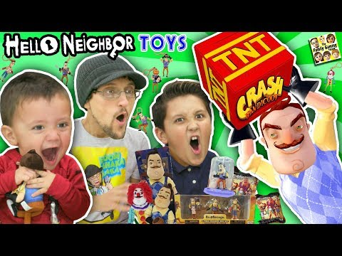 HELLO NEIGHBOR GIVES US HIS TOYS!!  FGTEEV Boys Video Game Surprise Box from MART (Plushies Figures)