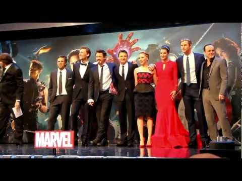 Avengers Assemble on Stage at The Avengers Assemble European Premiere