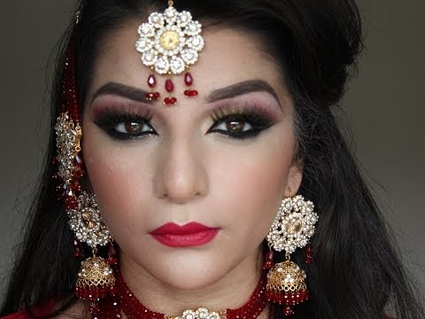 Asian Bridal Red And Gold Makeup Tutorial video