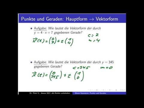 Punkte und Geraden Teil 18: Transformation Hauptform von/nach Vektorform