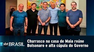 Churrasco na casa de Maia reúne Bolsonaro e alta cúpula do Governo | SBT Brasil (16/03/19)