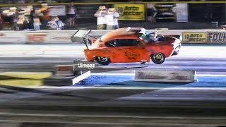 8 SEC TAXI RIDE! 1800HP!BLOWN HENRY J'S! WAR PIG VS OKIE TWISTER! MELTDOWN NIGHT DRAGS '15!