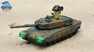 The minions are in the tank. Adventure story episode of tank toys and minions.