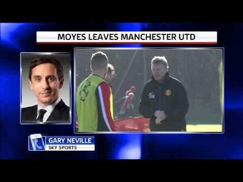 Gary Neville reacts to David Moyes' sacking